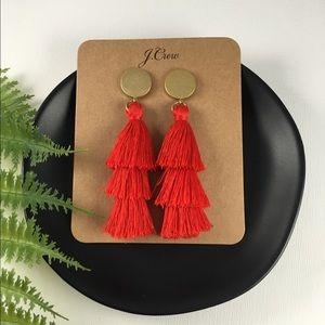 🍁NWT J.Crew Orange/Red Tassel Drop Earrings